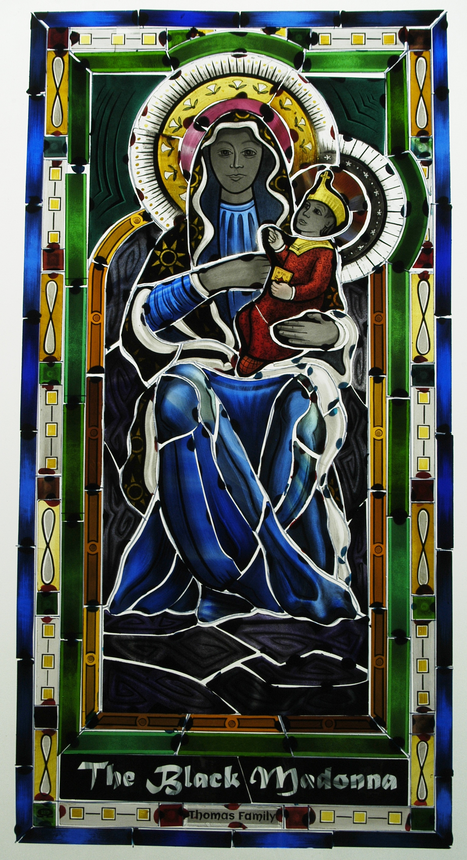Black Madonna stained glass